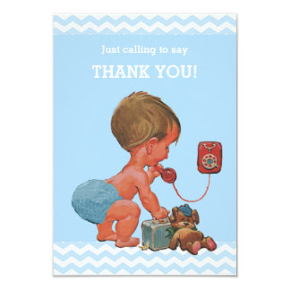 Vintage Baby on Phone Baby Shower Thank You 9 Cm X 13 Cm Invitation Card