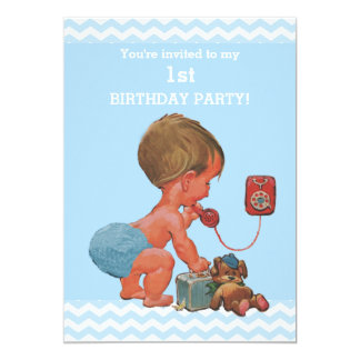 Vintage Baby on Phone Blue Chevrons 1st Birthday Card