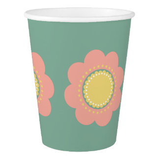 Vintage Baby Pink and Yellow Flower on Blue Paper Cup