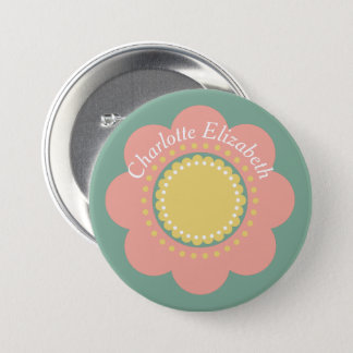 Vintage Baby Pink Flower on Blue Personalized 7.5 Cm Round Badge