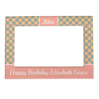 Vintage Baby Pink Flower Personalized Magnetic Picture Frame