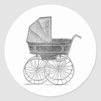Vintage baby pram in black and white classic round sticker