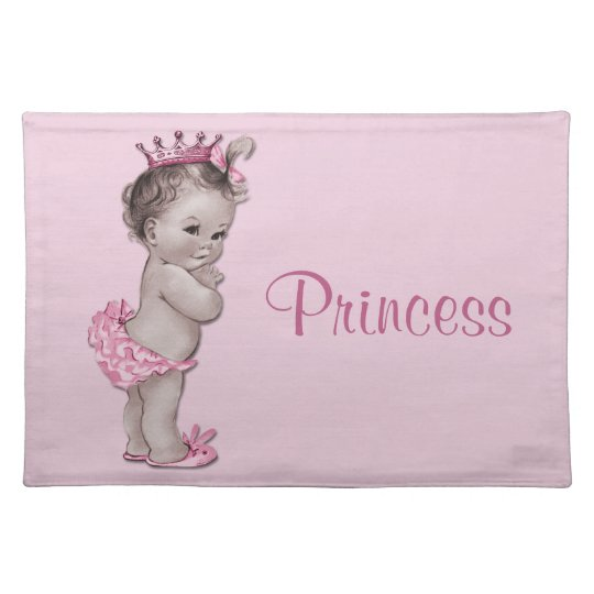 Vintage Baby Princess Pink Personalised Place Mats