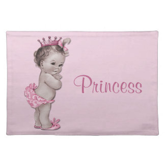 Vintage Baby Princess Pink Personalized Place Mats