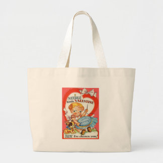Vintage Baby & Puppy Doing Needlepoint Valentine Large Tote Bag