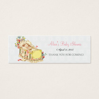 Vintage Baby Shower Baby inside Crib Favor Tag Mini Business Card