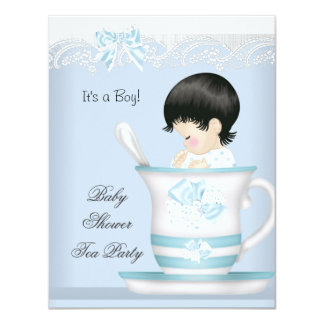Vintage Baby Shower Boy Blue Baby in Teacup 11 Cm X 14 Cm Invitation Card