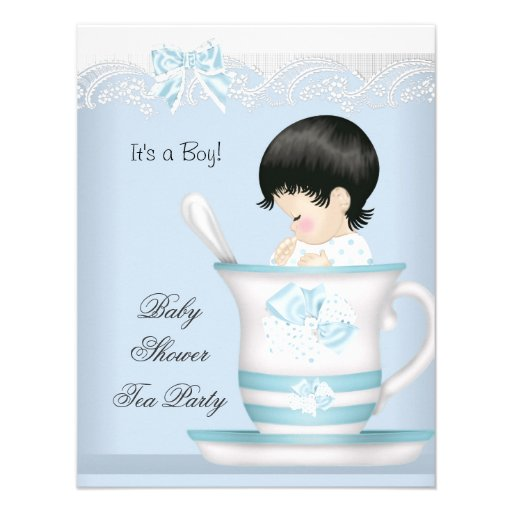 Vintage Baby Shower Boy Blue Baby in Teacup Personalized Invites
