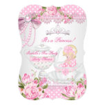 Vintage Baby Shower Cute Girl Pink Rose Tea Party 13 Cm X 18 Cm Invitation Card