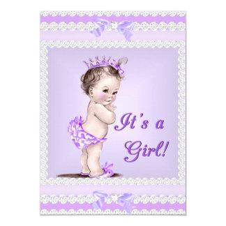 Vintage Baby Shower Girl Lilac Lavender Purple 13 Cm X 18 Cm Invitation Card