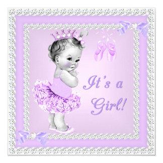 Vintage Baby Shower Girl Pretty Purple Ballet 13 Cm X 13 Cm Square Invitation Card