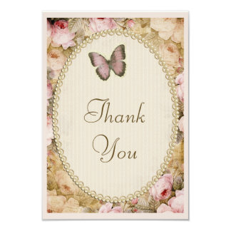 Vintage Baby Shower Thank You Roses & Butterfly 9 Cm X 13 Cm Invitation Card