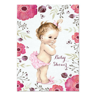 Vintage Baby Watercolor Poppies Baby Shower 13 Cm X 18 Cm Invitation Card
