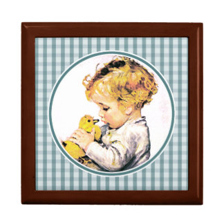 Vintage Baby with Duckling. Easter Gift Box