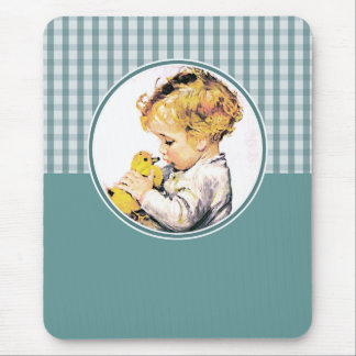 Vintage Baby with Duckling. Easter Gift Mousepad