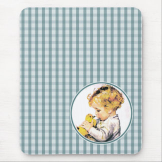 Vintage Baby with Duckling. Easter Gift Mousepads