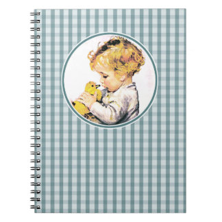 Vintage Baby with Duckling. Easter Gift Notebooks