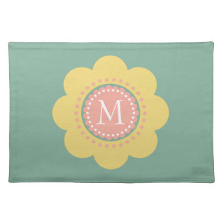 Vintage Baby Yellow and Pink Flower Monogram Placemat