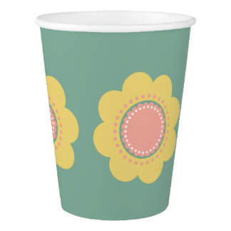 Vintage Baby Yellow and Pink Flowers on Blue Paper Cup