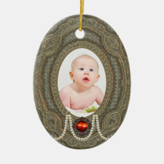 Vintage Babys First Christmas Photo Ornaments