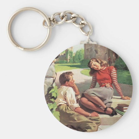 Vintage Back to School, College Coed Students Basic Round Button Key Ring