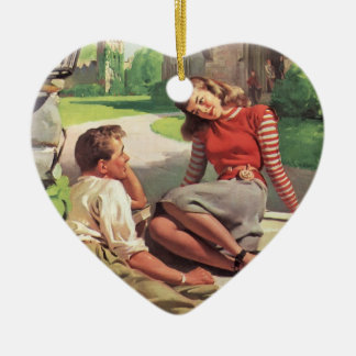 Vintage Back to School, College Coed Students Ornament