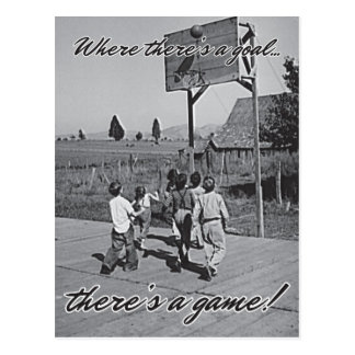 Vintage Backyard Basketball Postcard