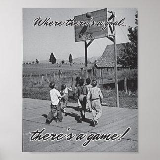 Vintage Backyard Basketball Poster