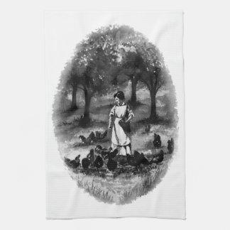 Vintage Backyard Chicken Farmer Tea Towel