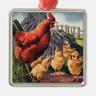 Vintage Backyard Chicken with Baby Chicks on Farm Ornaments