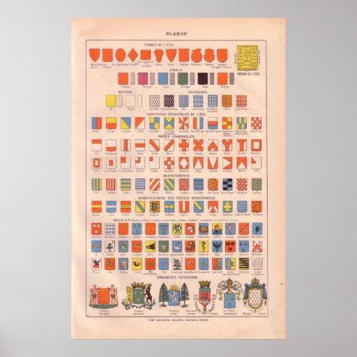 Vintage badges and emblems 1920 print