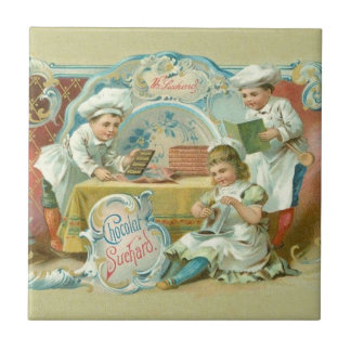 Vintage Baking with Chocolate Advertising Small Square Tile
