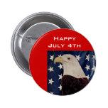 Vintage Bald Eagle on American Flag 4 July 6 Cm Round Badge