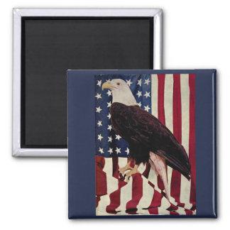 Vintage Bald Eagle on American Flag 4 July Magnets