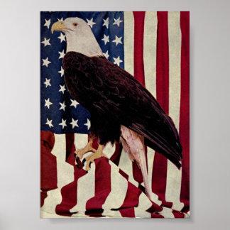 Vintage Bald Eagle on American Flag 4 July Print