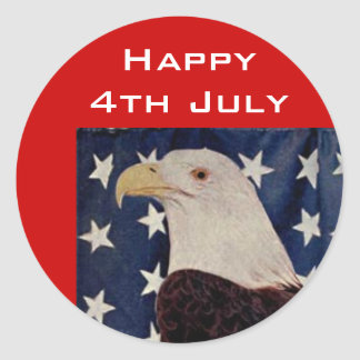 Vintage Bald Eagle on American Flag 4 July Round Sticker