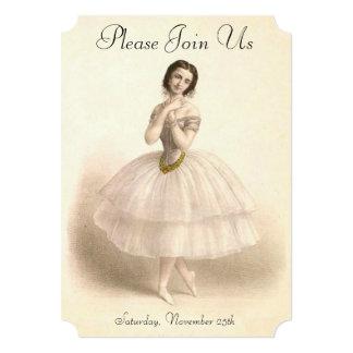 Vintage Ballerina Dancing Ballet Dance Recital 5x7 Paper Invitation Card