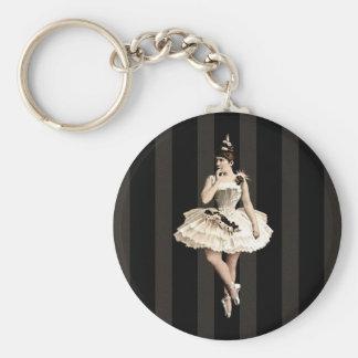 Vintage Ballerina Dark Colors Key Ring
