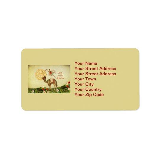 Vintage Ballerina, Flowers, and Camel Collage Address Label