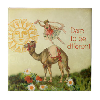 Vintage Ballerina, Flowers, and Camel Collage Small Square Tile