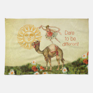 Vintage Ballerina, Flowers, and Camel Collage Tea Towel