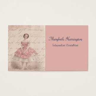 Vintage Ballerina Girl in a Pink Tutu Business Card