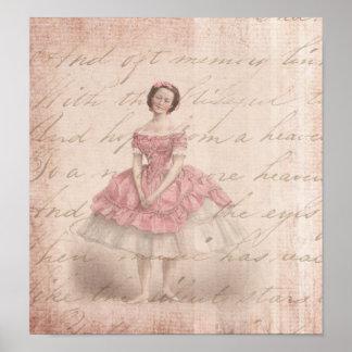 Vintage Ballerina Girl in a Pink Tutu Poster