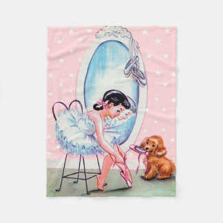 Vintage Ballerina Image Fleece Throw