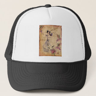 Vintage Ballerina on Ephemera background. Trucker Hat