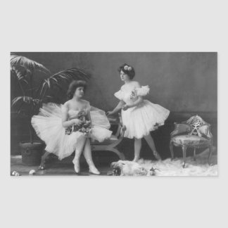 Vintage Ballerinas After the Encore Rectangular Sticker