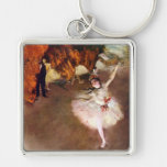 Vintage Ballet Art, Prima Ballerina by Edgar Degas Silver-Colored Square Key Ring