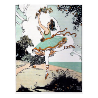Vintage Ballet Dancer Postcard
