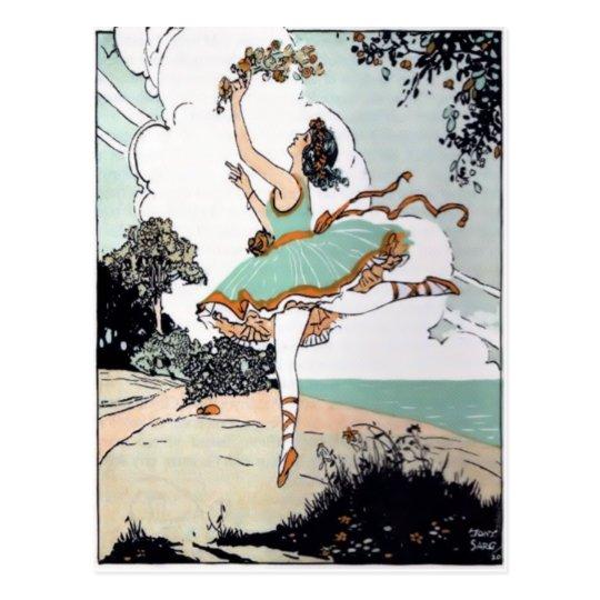 Vintage Ballet Dancer Postcard