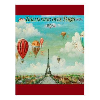 Vintage Ballooning Over Paris Travel Postcard